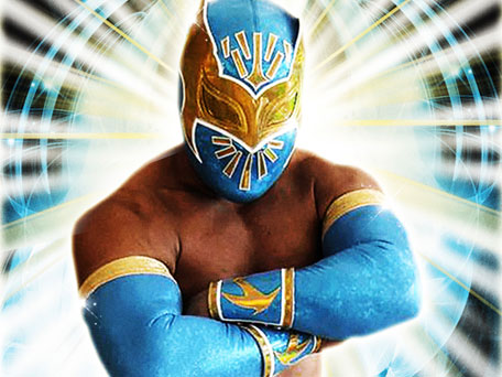 sin cara wrestler without mask. a full time WWE Wrestler.